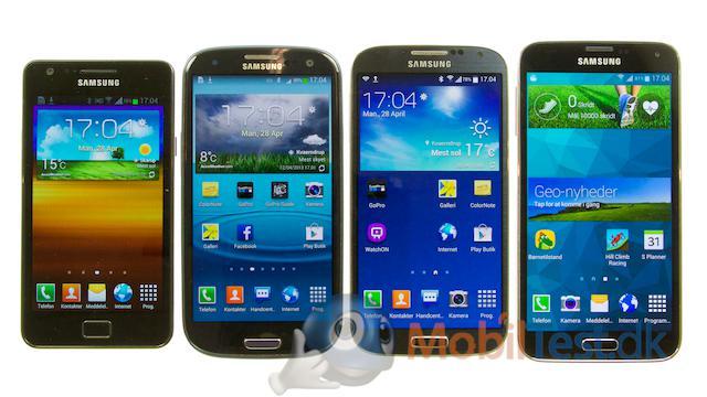 Galaxy S2, S3, S4 og den nye S5