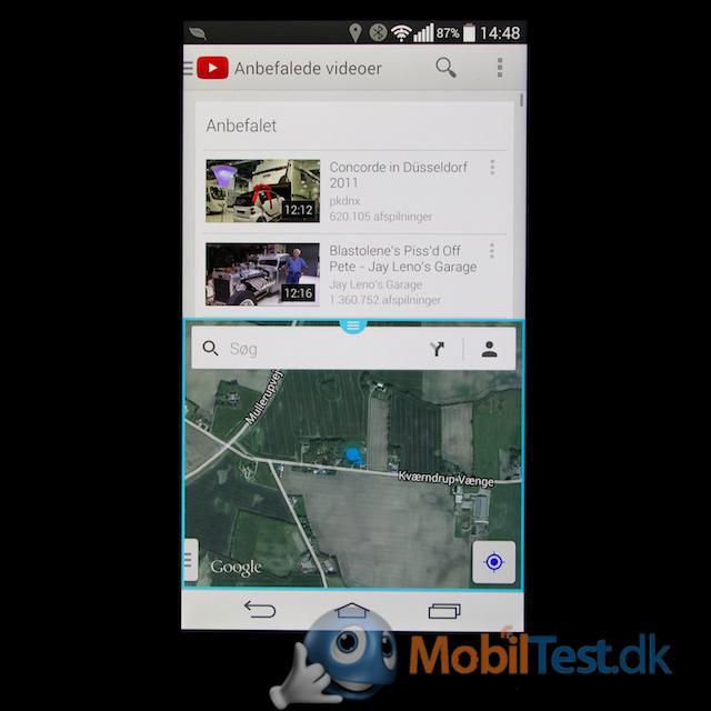 Dobbelt skærm - Youtube og Maps