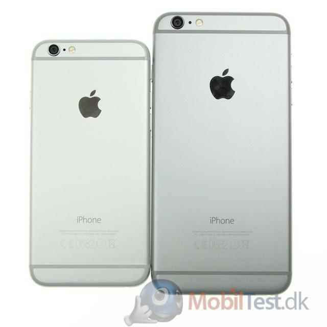iPhone 6 ved siden af iPhone 6 plus