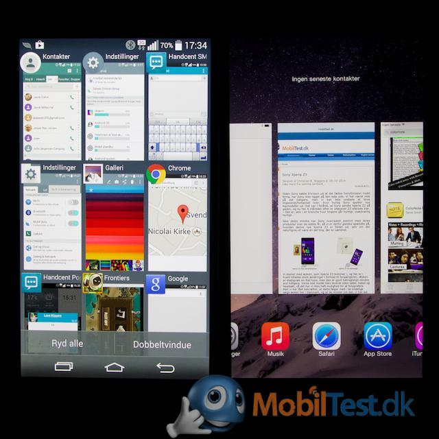 Multitaskin-menu for LG G3 og iPhone 6 plus