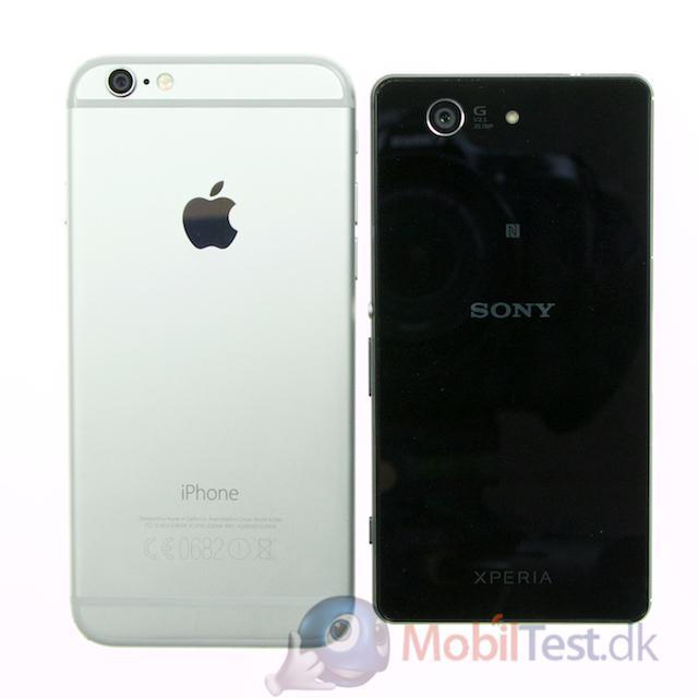 Bagsiden af iPhone 6 og Z3 Compact