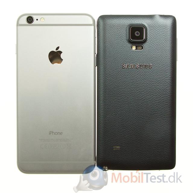 Bagside af iphone 6 plus og Note 4