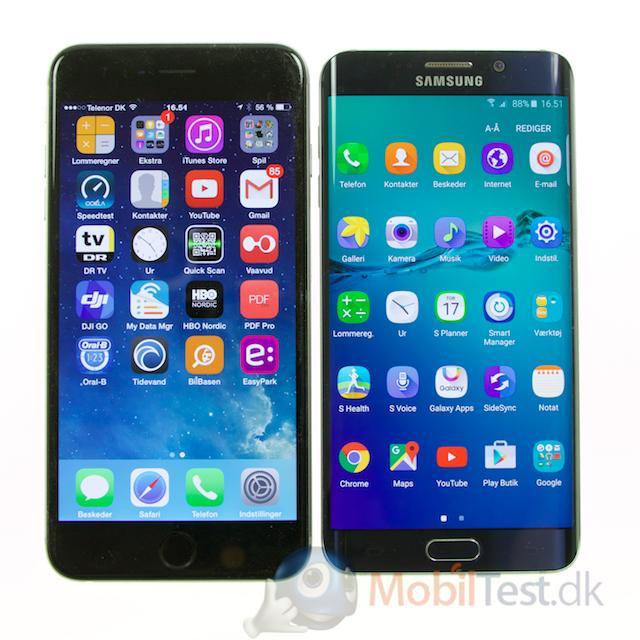 S6 Edge+ og iPhone 6 plus i dagslys