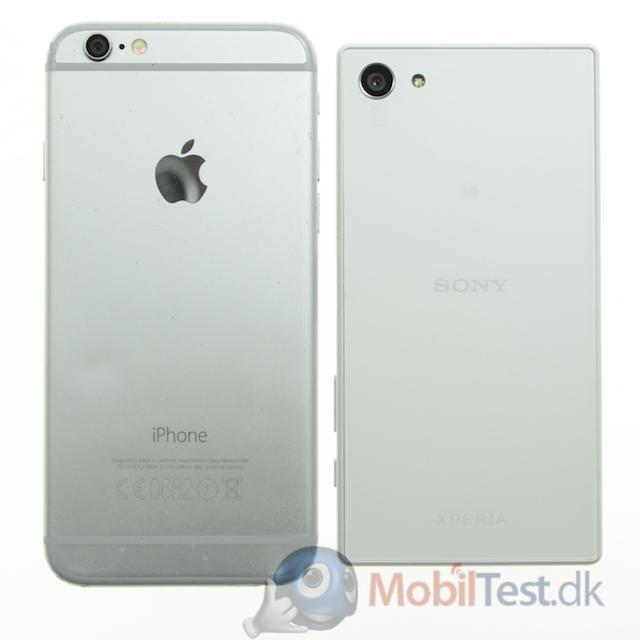 Bagsiden af iPhone 6 og Z5 Compact