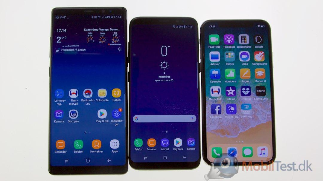 Samsung Galaxy Note 8, Samsung Galaxy S8 og Apple iPhone X