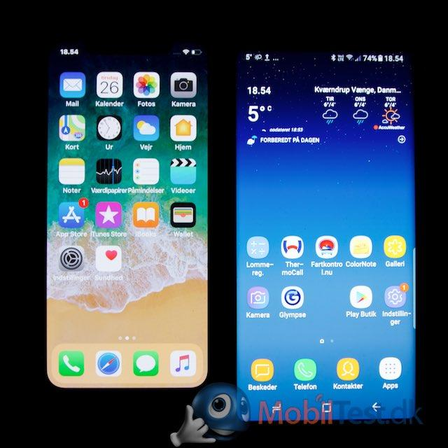 iPhone X og Galaxy Note 8 (begge OLED-skærme)