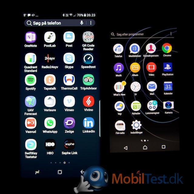 Galaxy Note 8 og Sony XA1