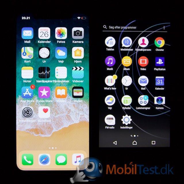 iPhone X og Sony XA1
